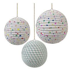 meri meri - Toot sweet charms and stripes paper globes - set of 3 - These paper globe decorations come in a choice of 3 stylish patterns including stripes and charms. They come in two sizes. Each globe is suspended using a string to create a great effect in a party room.
