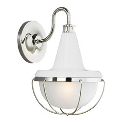 Murray Feiss - Murray Feiss WB1727HGW/PN Livingston 1 Bulb High Gloss White / Polished Nickel W - Murray Feiss WB1727HGW/PN Livingston 1 Bulb High Gloss White / Polished Nickel Wall Sconce
