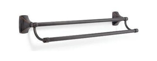 Amerock - Clarendon 24 in. Double Towel Bar in Oil-Rubbed Bronze Finish - Includes mounting template and mounting hardware. 2 x M5 x 0.8 9 mm Phillips, 2 x M4 x 0.7 13.5 mm mounting set screw and 2 wall mounting plates. Heavy-gauge stainless steel construction. 1-Year warranty. 26.75 in. L x 4 in. W x 5 in. H (1.5 lbs.)Modern twist on traditional design aesthetics, the blended transitional Clarendon™ collection complements a full spectrum of bath and powder rooms with both curved and rectangular forms. Complements a variety of Amerock® cabinet hardware, suggested coordination to the Amerock® Mulholland™ collections.