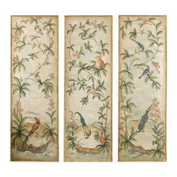 Uttermost - Grace Feyock Aviary Panel I II III Wall Art - Designer: Grace Feyock. 3 pc. Set. (2) Hangers, (1) on each end approx. 5 in. from Top. Artwork can only be hung vertically. 20 in. W x 1 in. D x 60 in. HThis hand painted artwork on canvas is applied to a wood back surrounded by a wood frame with hand applied gold leaf. Due to the handcrafted nature of this artwork each piece may have subtle differences.