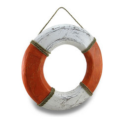 Zeckos - Orange/White Wooden Weathered Finish Life Ring Buoy Wall Hanging w/ Rope Accents - This cool orange and white life ring wall hanging is carved from wood, and hand-painted with a distressed finish giving it a bit of weathered charm perfect to hang out by the pool, on the porch or patio, on a garden wall, or anywhere inside your home for a cool beach accent. This decorative 18.75 inch diameter, 1.5 inch deep (48 X 4 cm) buoy boasts real rope accents, and easily hangs from any hook, nail or screw using the attached rope hanger. It's great as a gift, and would be right at home in your beach cottage or coastal home.