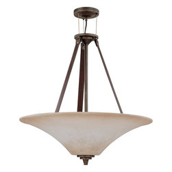Nuvo Lighting - Golden Umber Four Light Down Lighting Bowl Pendant from the Viceroy Collection - Four light down lighting bowl pendant featuring burnt sienna glass