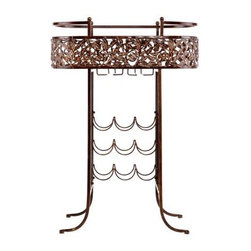 Holly and Martin - Ventura Wine Table - Add this decorative wine table to your home for a beautiful display of your wine and accessories along with convenient storage. The vineyard-inspired leaves are sure to win the hearts of wine connoisseur and novice alike.