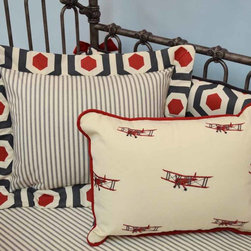 """Aviator Nursery - Accent a chair or your bedding with the adorable Aviator pillow (shown front) 12"""" x 16""""."""