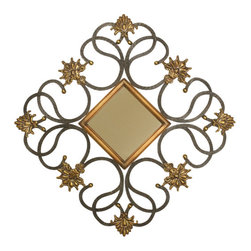 Welcome Home Accents - Black Diamond Shaped Wall Mirror - Black scrolled rope iron wall hanging mirror is adorned with antiqued gold fleur de lis designs and an cased gold cased mirror. Hooks on back for easy hanging. Dust with a dry cloth. Made in China