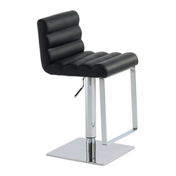 Nuevo Living - Fanning Adjustable Stool, Black, Set of 2 - Chrome and leather never looked so good. The combination in this hydraulic-lift stool is super sophisticated and perfect for the modern home bar. All that's missing is a chilled martini.