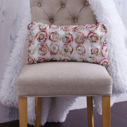 """Textured Colorful Rosette Pillow - This pink silk pillow is layered with luxurious snow white crocheted lace. 'Camille Pillow"""""""