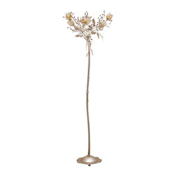 LogicSun/Montalto - Gradara - Floor lamp made entirely in wrought iron, hand painted according to the Tuscan tradition of blacksmiths. The embellishment with the addition of Swarovski crystals and Murano glass flowers contribute to make this product unique.