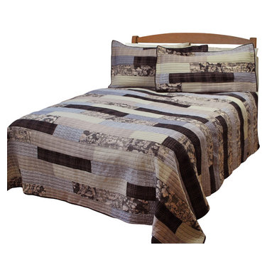 Pem America - Trillare King Quilt with 2 Shams - This log cabin style quilt is updated with plaids and larger scale floral prints.  The face of the quilt is carefully hand pieced, 100% cotton fabrics and is filled with cotton filling for a great feel and weight any time of year. Includes 1 king size quilt (108x90 inches) and 2 pillow shams(20x36 inches). 100% cotton face cloth with 94% cotton / 6% other fiber fill.  Reverse is 100% microfiber polyester. Machine washable.