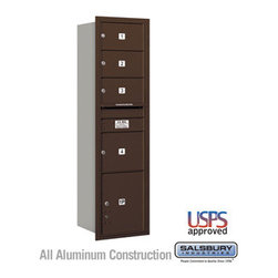 Salsbury Industries - 4C Horizontal Mailbox - Maximum Height Unit (56 3/4 Inches) - Single Column - 3 - 4C Horizontal Mailbox - Maximum Height Unit (56 3/4 Inches) - Single Column - 3 MB2 Doors / 1 MB3 Door / 1 PL - Bronze - Rear Loading - USPS Access