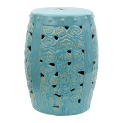 "Oriental Furniture - 18"" Carved Clouds Porcelain Garden Stool - This beautiful porcelain garden stool evokes the image of billowing clouds rolling overhead on a warm summers day, the sun shining through in the gaps in between. A luminous aqua glaze finishes this traditional Chinese motif on a classic barrel-shaped garden stool. The bold design makes a decorous accent to any house or apartment, and the water-resistant glaze and artfully placed openings make it suitable for outdoor use in the garden."