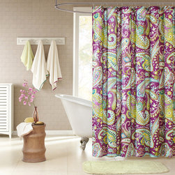 ID-Intelligent Designs - Intelligent Design Kayla Purple Paisley Shower Curtain - Kayla's large purple and white paisley print with green accents enhances the dimension and character of your bathroom. The yellow on the reverse side adds more color and vibrancy to this shower curtain.