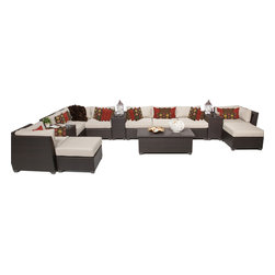 TKC - Bermuda 14 Piece Outdoor Wicker Patio Furniture Set 14a 2 for 1 Cover Set - Sink into the plush Cushions comfortably fitted between our Bermuda's curved arms. Espresso-colored all-weather rattan is expertly hand woven, wrapping every inch of the durable aluminum frame. Sturdy rust-resistant powder coated feet are color matched to Table Tops. Thick all-weather Cushions are enveloped in 2-year fade resistant acrylic upholstery.
