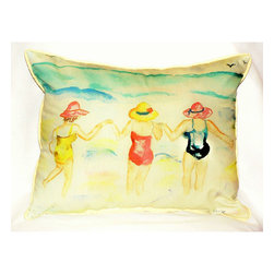 Betsy Drake - Betsy Drake Ladies Wading Pillow- Indoor/Outdoor - Ladies Wading Pillow- Large indoor/outdoor pillow. These versatile pillows are equal at enhancing your homes seaside decor and adding coastal charm to an outdoor setting arrangment. They feature printed outdoor, fade resistant fabric for years of wear and enjoyment. Solid back, polyfill. Proudly made in the USA.