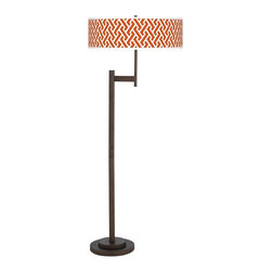 "Giclee Glow - Asian Red Brick Weave Parker Light Blaster Bronze Floor Lamp - Parker floor lamp with Red Brick Weave pattern shade. Light Blaster™ energy saving design. Custom printed pattern. Oil-rubbed bronze finish. Metal construction. Includes four 26 watt GU24 CFL bulbs; light output comparable to 400 watts. 4-positional switch. Shade is 24"" wide 8"" high. Base footprint is 12"" round.  Parker floor lamp with Red Brick Weave pattern shade.  Light Blaster™ energy saving design.  Custom printed pattern.  Oil-rubbed bronze finish.  Metal construction.  Includes four 26 watt GU24 CFL bulbs; light output comparable to 400 watts.  4-positional switch.  62 1/2"" high.  Shade is 24"" wide 8"" high.  Base footprint is 12"" round."