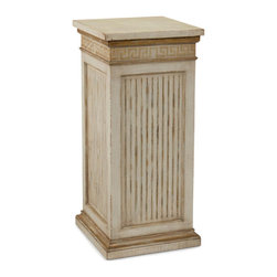 John Richard - John Richard Greek Key Pedestal EUR-08-0050 - The weathered linen finish is highlighted by faded gold detailing to the molding and Greek key freeze rail.