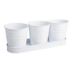 Esschert Design Set Of Three White Metal Flower Pots In Metal Saucer - A trio of galvanized steel flowerpots in a saucer sets the stage for a mini herb garden. I'd create a custom label on each with chalkboard paint and white chalk.