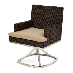 Caluco - Mirabella Dining Swivel Rocker Arm Chair - The Mirabella Dining Swivel Rocker Arm Chair combines style, durability, and comfort to provide unmatched value in outdoor seating.  Pictured in the dark java wicker with stainless steel finish.
