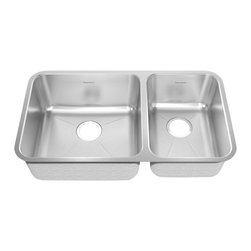 American Standard - Stainless Steel Undermount Double Bowl Creased Small Bowl Rt Kitchen - American Standard 14CR.331900.073 Stainless Steel Undermt 32.88 inch x 18.75 inch Double Bowl Creased Small Bowl Rt Kitchen Sink Brushed Stainless Steel.