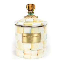 Parchment Check Enamel Canister - Small | MacKenzie-Childs - Who said that practical can't be gorgeous? Fill a set of three Parchment Check™ Enamel Canisters with just about anything you want to keep fresh! Keep them in the kitchen with coffee beans and tea bags, cookies and candies, or dog biscuits and birdseed—or invent new uses around the house. Perfect for cotton balls and swabs in the bathroom, pens and pencils in the office, or knickknacks and doodads in the kids' room. Available in small, medium, and large, each is hand-painted with Parchment Check™ and topped off with an elegant glass knob.