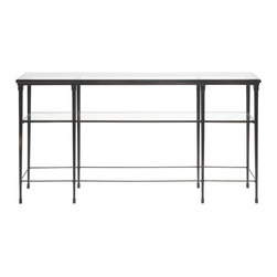 Vanguard - Hardin Sofa Table / Glass Top - Forged Bronze Finish with Marble Top