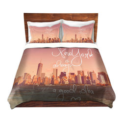 DiaNoche Designs - Duvet Cover Microfiber - New York Skyline - DiaNoche Designs works with artists from around the world to bring unique, artistic products to decorate all aspects of your home.  Super lightweight and extremely soft Premium Microfiber Duvet Cover (only) in sizes Twin, Queen, King.  Shams NOT included.  This duvet is designed to wash upon arrival for maximum softness.   Each duvet starts by looming the fabric and cutting to the size ordered.  The Image is printed and your Duvet Cover is meticulously sewn together with ties in each corner and a hidden zip closure.  All in the USA!!  Poly microfiber top and underside.  Dye Sublimation printing permanently adheres the ink to the material for long life and durability.  Machine Washable cold with light detergent and dry on low.  Product may vary slightly from image.  Shams not included.
