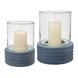 Lazy Susan - Lazy Susan Coiled Rope Hurricanes, Set of 2 - This Set Of 2 Coiled Rope Hurricanes Make A Perfect Addition To Relaxed Modern Environments. Hand Formed In Ceramic With Rich Matte Blue Exterior Glaze.