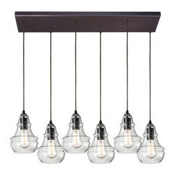 Elk Lighting - EL-60047-6rc Menlow Park 6-Light Pendant in Oiled Bronze - Industrial inventions of yesteryear are reclaimed and reinterpreted to deliver the style demands of today. The classic filament style bulb can be showcased within a clear or mercury blown glass shade or proudly shown alone. An oiled bronze finish with a cloth cord or a polished chrome finish with a clear cord offer versatility for any decor.