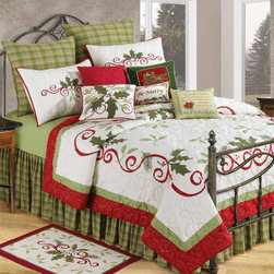 Christmas Quilts - Holiday Bedding - When I see this bed set, I just want to snuggle up and hit the snooze button. Have fun with holiday prints and patterns, and choose seasonal bedding. The cute pillows also have some adorable messages to put everyone in a jolly spirit.