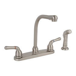 """PREMIER - Sanibel Kitchen Faucet 2 Handle With Spray Brushed Nickel Lead Free - Cast brass body, Dependable ceramic disc technology, 1/4 turn operation, 8"""" centers, 1/2"""" IPS connections, With mathcing spray LEAD FREE - Manufacturer: Premier Faucet - JANITORIAL - DRAIN MAINTENANCE PRODUCTS - DRAIN TREATMENTS - DRAIN OPENERS- NON-ACID."""