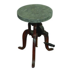 "YOSEMITE HOME DECOR - Adjustable Bistro Stool - This barstool  features an adjustable height seat. The seat is made of solid mango wood with a concrete film covering, resting upon a cast iron tri-leg base. Just turn the handle to adjust the seat height from 18""-24"" high. Lubricate with Graphite - Do Not Use Oil. Indoor/Outdoor use, ""Suggest Dry Climate for Outdoor Use"".  Made in India.  Item Dimensions are 12inches Width X 18inches Depth X 18inches Height"