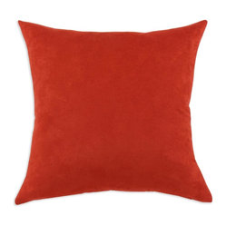 Chooty - Passion Suede Tomato 17x17 Pillow - Passion suede in bright tomato soup is a true love for suede lovers. Construction that is both durable and beautiful