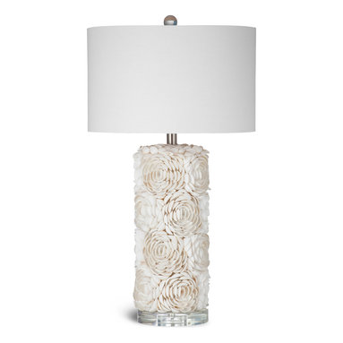 Bassett Mirror - Shell Table Lamp - Intricate detail and a fresh white and cream color scheme combine in the Shell Table Lamp. Featuring small white venus clams arranged in a floral pattern, a circular acrylic base, lightly textured white drum shade and chrome hardware, this lamp epitomizes delicate elegance. Pair it with beach style decor for a soft but bright look. Requires 60 watts or less, bulbs not included.