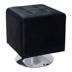 Armen Living - Pica Square Ottoman, Black - Unmistakably posh button-tufting detail enhances the distinguished silhouette of this updated classic.