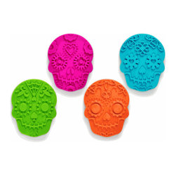 Sweet Spirits Sugar Skull Cookie Cutters - Double-duty cookie cutters? Sort of. Make your cookies in time for Halloween and then again for the Day of the Dead right afterwards. I want my cookies to be the same bright colors as these cutters!