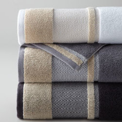 "Kassatex - Kassatex Savile Hand Towel - Savile towels with zigzag border detail bring refined style to the bath. 600 gram weight, yarn-dyed Egyptian cotton jacquard. Machine wash. Select color when ordering. Bath towel, 28"" x 54"". Hand towel, 18"" x 28"". Face cloth, 13""Sq. Made in Por..."
