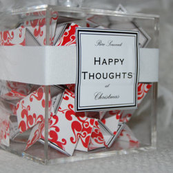 "Happy Thoughts Advent Calendar by Rire Souvent - Are you part of ""The 99%""? Then this take on an advent calendar is for you. Instead of presents or fattening treats, pull out a happy thought each day."