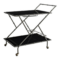 Powell - Powell Serving Cart - Make formality a decadent treat with this Serving Cart of cool. Gunmetal Gray bamboo-detailed metal frame with indulgent tempered black glass shelves. Antique caster wheels help you service your entire house while a bottle rack and glass holder provide the ingredients to relaxation. Some assembly required.