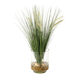 "D&W Silks - Artificial Onion Grass With Dogstail in Glass Vase - It's amazing how much adding a plant can change the look of a room or decor, but it can be difficult if your space is not conducive to growing plants, or if you weren't exactly born with a ""green thumb."" Invite the beauty of nature into your home without all the upkeep with this maintenance-free, allergy-free arrangement of artificial onion grass with dogstail in a glass vase. This is not a living plant."
