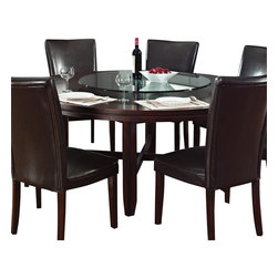 "Steve Silver Furniture - Steve Silver Hartford 72 Inch Round Dining Table in Dark Oak - 72 Inch Round Dining Table in Dark Oak belongs to Hartford Collection by Steve Silver The Hartford round dining table is the essence of comfortable contemporary style, designed to bring out the best in dining spaces of all sizes. Made of hardwood solids and oak veneers with a dark oak wood finish, the 72"" round dining table has a unique double top design with fancy face oak veneer and seating for up to six.  Dining Table (1)"