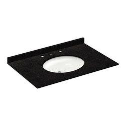 LessCare - 37x22 Absolute Black Granite Vanity Countertops - 8 Faucet Spread - *Condition: New