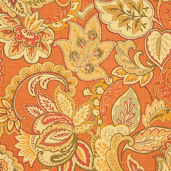Singapore Sienna Fabric - Orange can be sophisticated and elegant. A pair of club chairs upholstered in this Jacobean floral paired with dusty blues and mustard yellows would make for a gorgeous space.