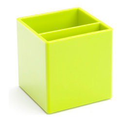 Poppin - Pen Cup, Lime Green - Take note. It's time to ditch the plastic pocket protector and get your pens and pencils into this stylish cup. It features two separate compartments, your choice of eye-popping colors in a lacquer-like finish and coordinates with other desk accessories in the same line.