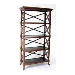 Wayborn - Charter Book Stand w 4 Shelves in Brown - Finely crafted from wood with a dark rich brown finish, this versatile Charter four-shelf book stand is a lovely display space for reading materials or any valued collections.  Sides and back are open for a light and airy feeling and the classic design will fit in any setting. Made from wood. 32 in. W x 14 in. D x 60 in. H (43 lbs.)
