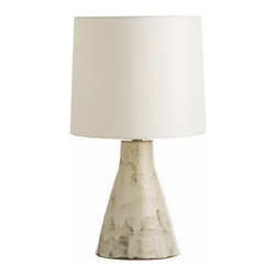 Arteriors - Arteriors Home - Earnest Lamp - 17079-243 - A modern shape cast in terra cotta then finished with a reactive hand applied glaze, which will vary from piece to piece. The ivory colored drum shade is lined in cream cotton and the finial is terra cotta to match.