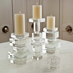 "Global Views - Global Views Brilliant Pillar Candleholder - Stacked cubes of polished lead crystal form a sculptural pillar candleholder with understated elegance. With crisp, square lines, the Global Views holders can be grouped or paired to bring a touch of modern glamour to the table or mantle. Sold individually: choose short or tall; Lead crystal; Holds up to a 4"" round pillar candle (not included); Arrives wrapped in a black fabric bag and packed in a polished white gift box"