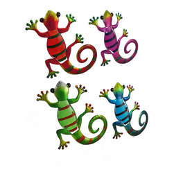 Zeckos - Set of 4 Colorful Gecko Glass Body Tin Wall Sculptures - This colorful set of wall hangings features 4 climbing geckos hand-painted in bright metallic hues with colored glass insert bodies sure to brighten any room Each measures 11 inches (28 cm) high, 8.5 inches (22 cm) wide and about 1/2 inch deep with fun polka dot and stripe details with an attached hanger on the back. They look amazing inside your home, near the address marker on an exterior wall, hanging out on the patio or sunning by the pool This set of whimsical geckos are sure to add interest to an otherwise boring wall, and makes a wonderful gift for lizard lovers