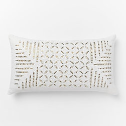Sequin Cutwork Pillow Cover, Multi Metallic - The sequin embellishments add an element of detail to this bright white pillow.