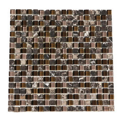 """Premier Worldwide - Glacier Brown And Glass 5/8"""" X 5/8"""" Mosaic Blend - Glacier Brown Glass Stone Polished Blend 5x8"""" x 5/8"""" mosaic has perfect shades of browns to compliment your backsplash projects."""