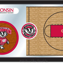 "Holland Bar Stool - Holland Bar Stool Wisconsin Basketball Mirror - Wisconsin Basketball Mirror belongs to College Collection by Holland Bar Stool The perfect way to show your school pride, our basketball Mirror displays your school's symbols with a style that fits any setting.  With it's simple but elegant design, colors burst through the 1/8"" thick glass and are highlighted by the mirrored accents.  Framed with a black, 1 1/4 wrapped wood frame with saw tooth hangers, this 15""(H) x 26""(W) mirror is ideal for your office, garage, or any room of the house.  Whether purchasing as a gift for a recent grad, sports superfan, or for yourself, you can take satisfaction knowing you're buying a mirror that is proudly Made in the USA by Holland Bar Stool Company, Holland, MI.   Mirror (1)"